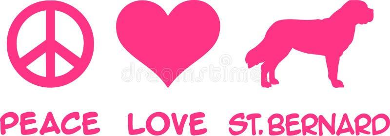 Мир, любовь, St Bernard иллюстрация вектора