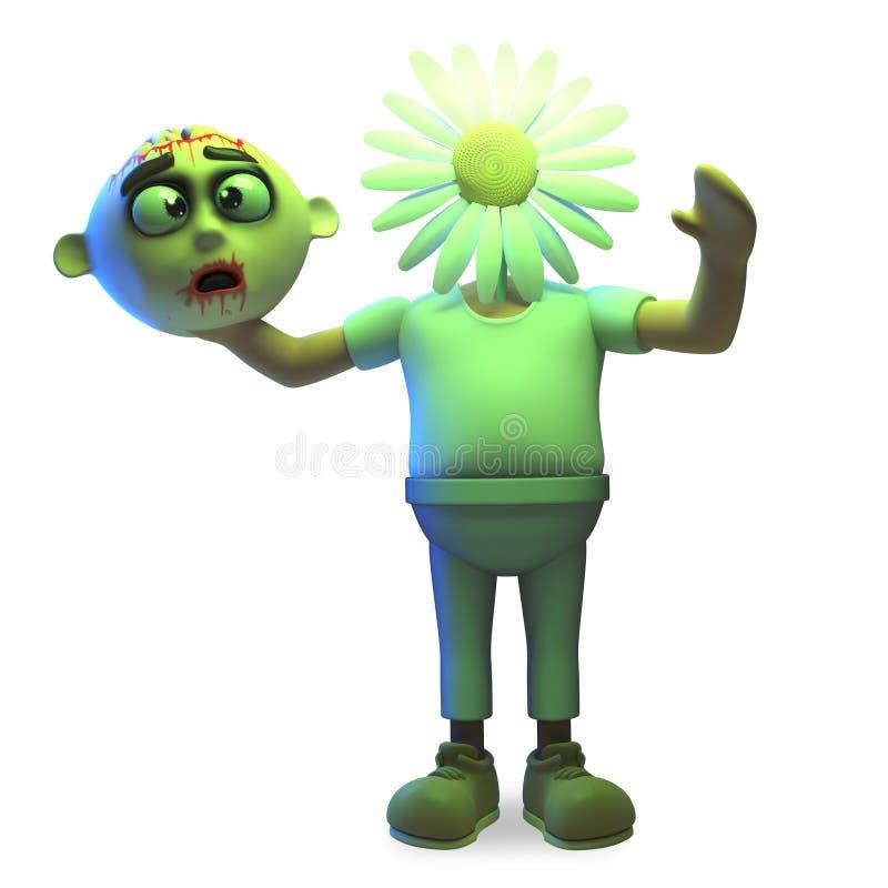 Мир любя чудовище зомби хеллоуина имеет его обменянное для цветка маргаритки, иллюстрация 3d иллюстрация штока