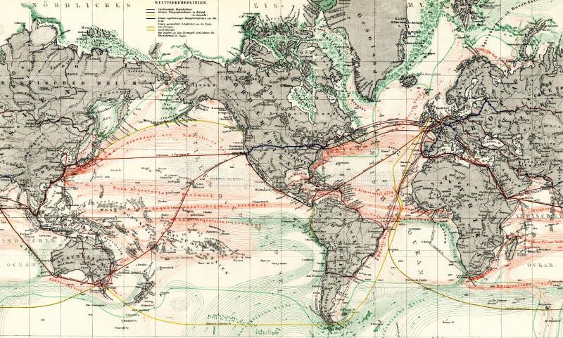 мир океана карты 1875 античный течений стоковая фотография