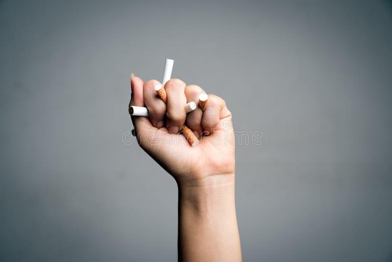 Мир отсутствие дня табака, 31-ое мая E Сигареты близкой поднимающей вверх руки человека задавливая и разрушая на серой предпосылк стоковая фотография rf