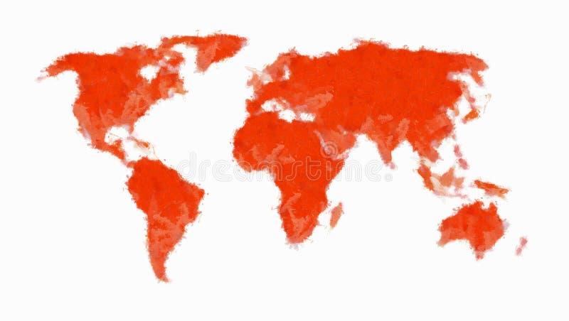 мир покрашенный картой красный иллюстрация вектора