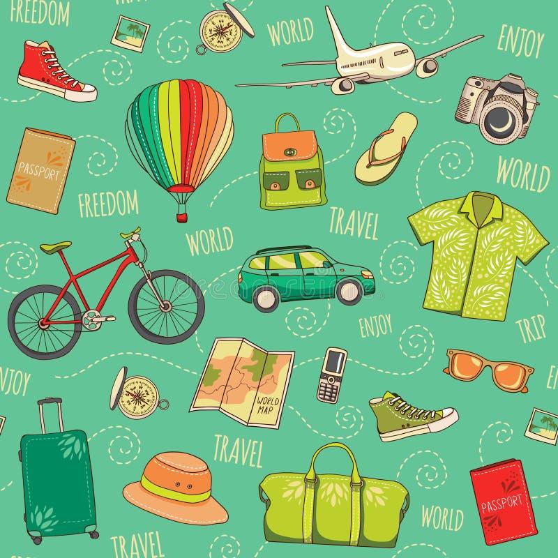 Мир путешествуя безшовная картина Зеленая предпосылка sepia с нарисованными рукой элементами каникул Острословие иллюстрации диза бесплатная иллюстрация