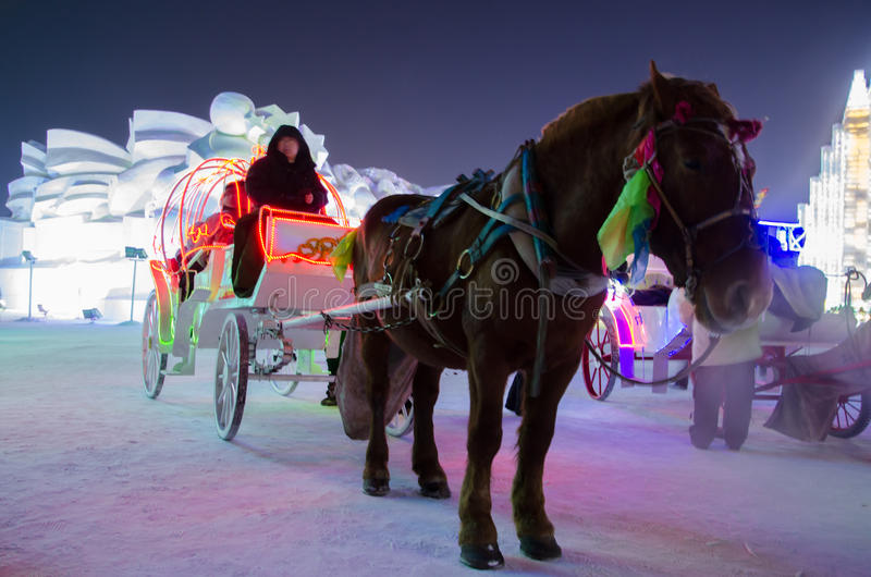 Мир снега льда в Харбине, 2014 стоковое фото