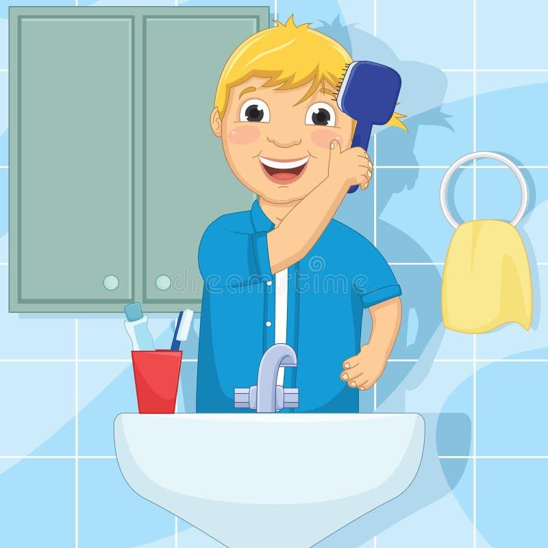 Иллюстрация вектора волос мальчика чистя щеткой бесплатная иллюстрация