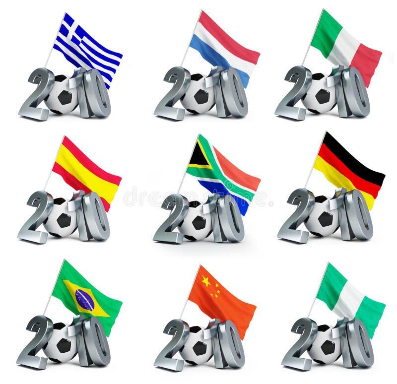 мир 2010 комплектов чашки иллюстрация штока