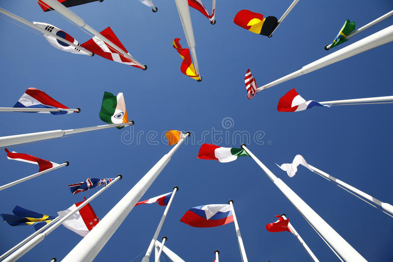 мир 5 флагов стоковое изображение