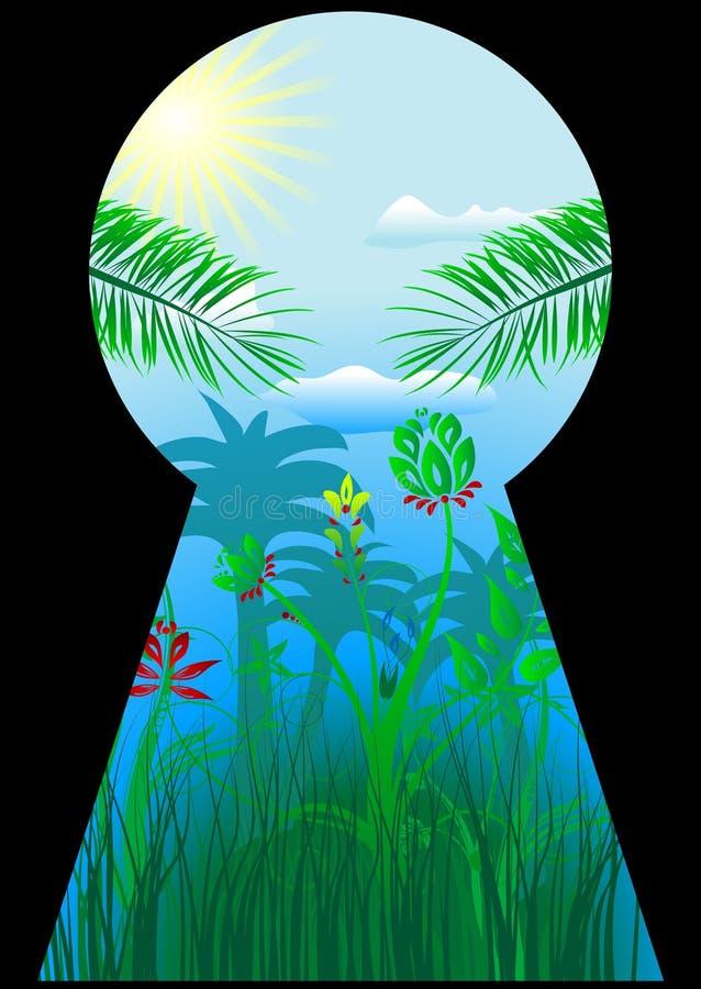 мир keyhole тропический иллюстрация вектора