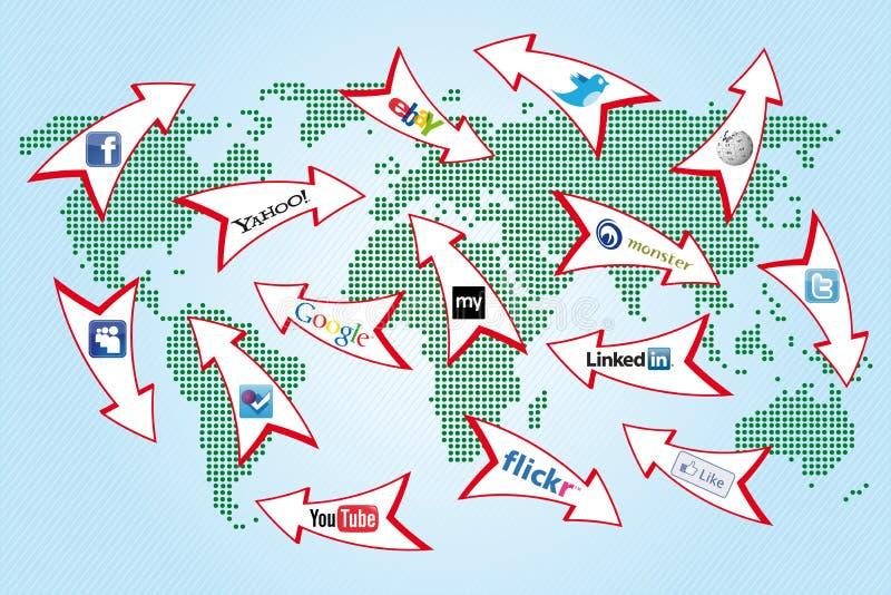 мир social сети карты иллюстрация вектора