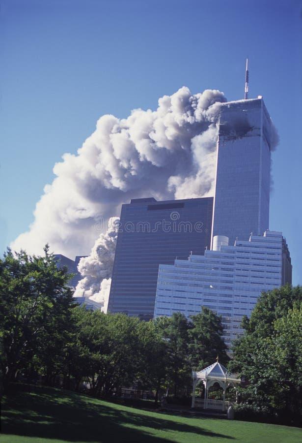 мир york разбивочного города 9 11 новый торговый стоковое изображение