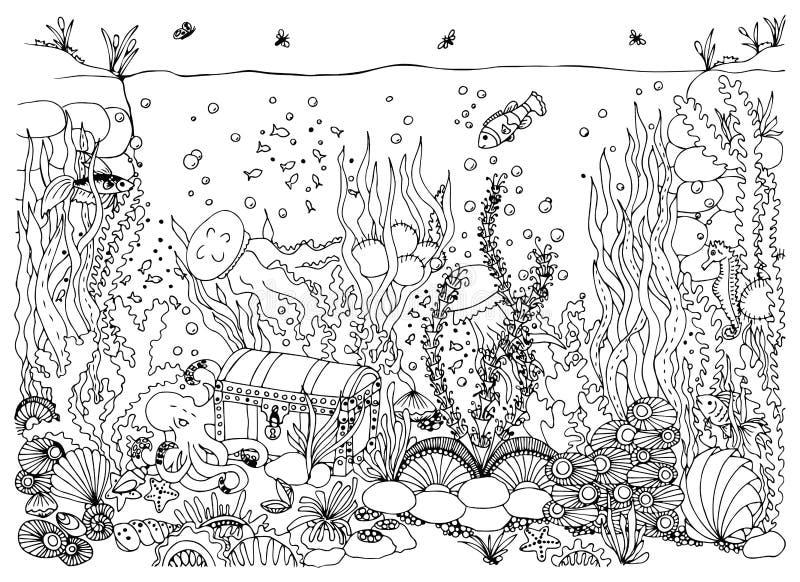Мир zentangle иллюстрации вектора подводный Doodle море, океан, fairy рассказ, приключение сундука с сокровищами расцветка стоковые изображения