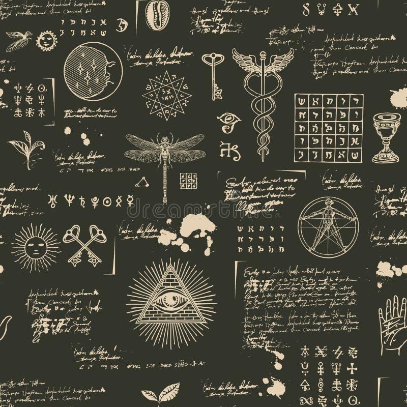 Мистическая, эзотерическая, оккультная безшовная предпосылка иллюстрация вектора