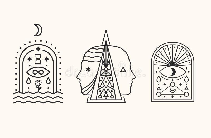 мистические символы Эзотерический, алхимия, священная геометрия иллюстрация вектора