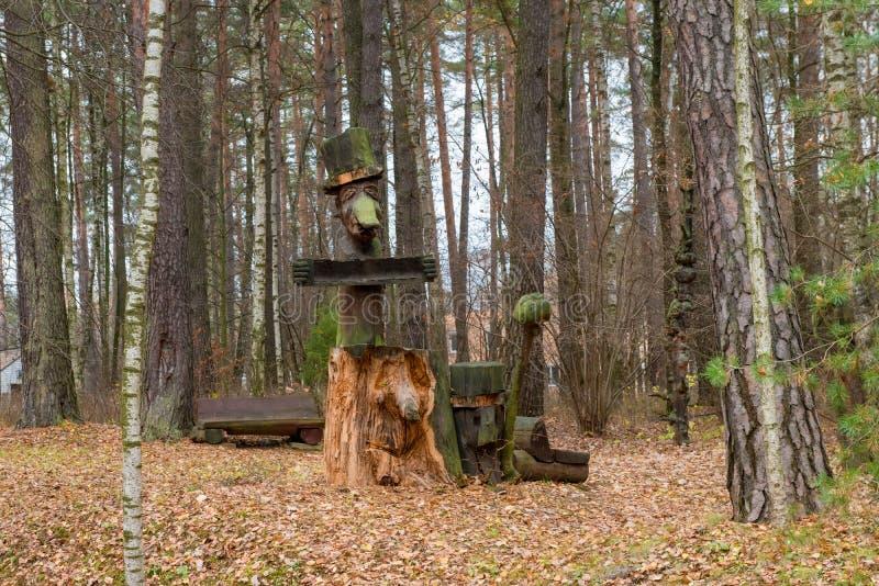 Мистические характеры сказки высекаенные от древесины в glade леса стоковые изображения