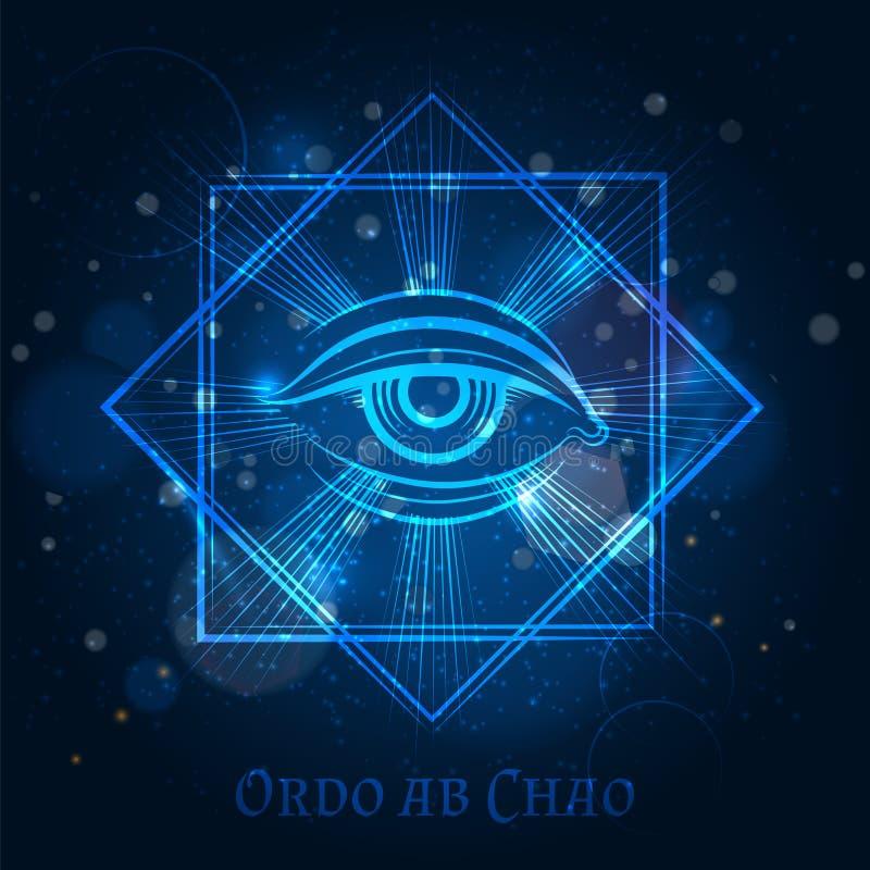 Мистический знак каменщика с глазом иллюстрация вектора
