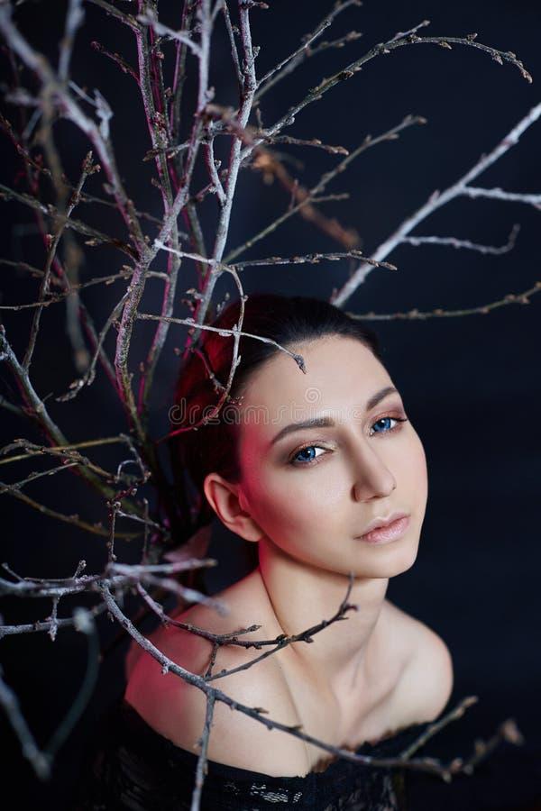 Мистический портрет армянской женщины с большими голубыми глазами и ветвями позади Симпатичная шикарная девушка представляя в пла стоковые фото