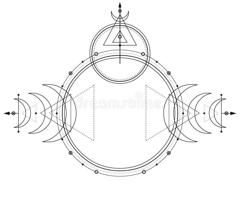 Мистический чертеж: круги, треугольники, луна, схема энергии иллюстрация вектора