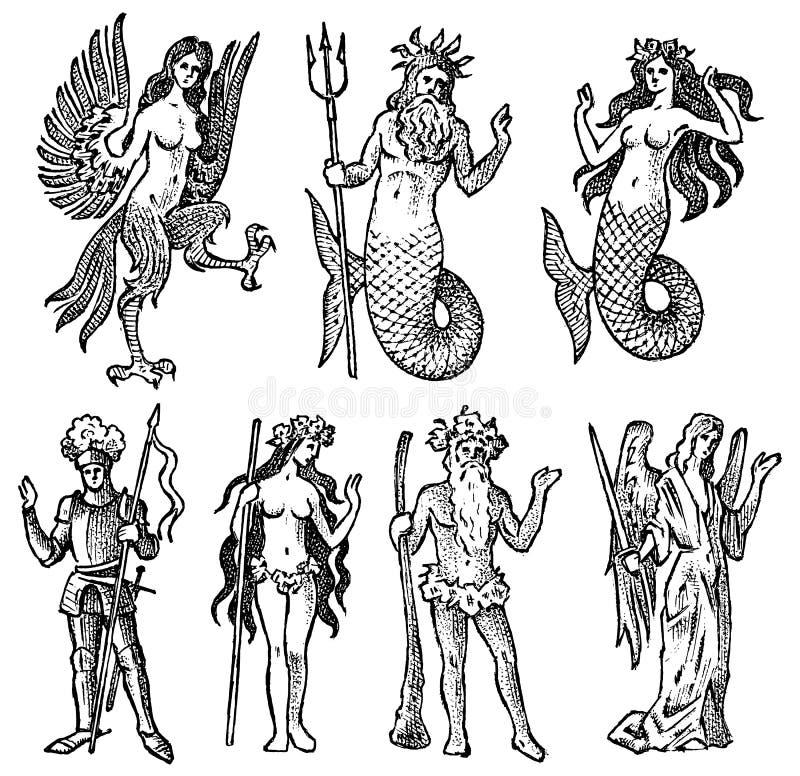 Мифическая тварь для геральдики в винтажном стиле Выгравированный герб с животными, птицами, рыбами, гарпией, рыцарем иллюстрация вектора