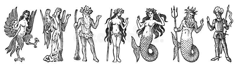 Мифическая тварь для геральдики в винтажном стиле Выгравированный герб с животными, птицами, рыбами, гарпией, рыцарем иллюстрация штока