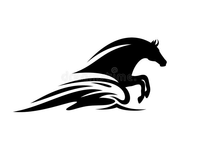 Мифический акватический дизайн силуэта вектора волны лошади и моря бесплатная иллюстрация