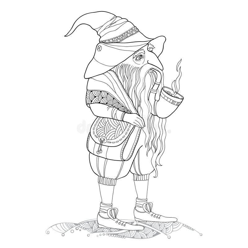 Мифологический гном или карлик с трубой табака и сумка через плечо изолированное на белой предпосылке Серия mythologica иллюстрация штока