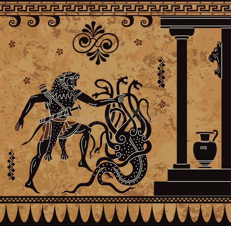Миф грека Anciet Черная диаграмма гончарня Документ Геркулеса героикоромантический иллюстрация штока