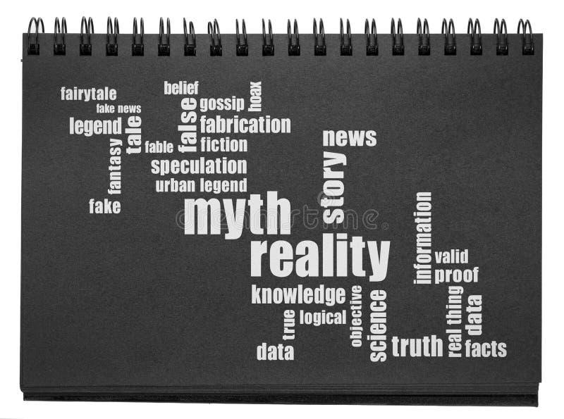 Миф и реальность облака слов стоковое изображение rf