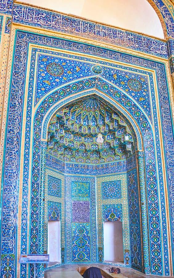 Михраб мечети пятницы, Yazd, Ирана стоковое изображение