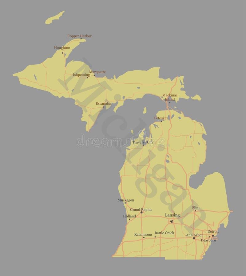 Мичиган детализировал точную детальную карту положения вектора бесплатная иллюстрация