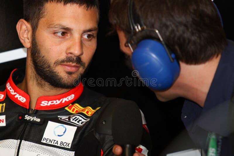 Мишель Fabrizio #84 на Superbike 1000 Roma красных дьяволов фабрики Aprilia RSV4 WSBK стоковая фотография rf
