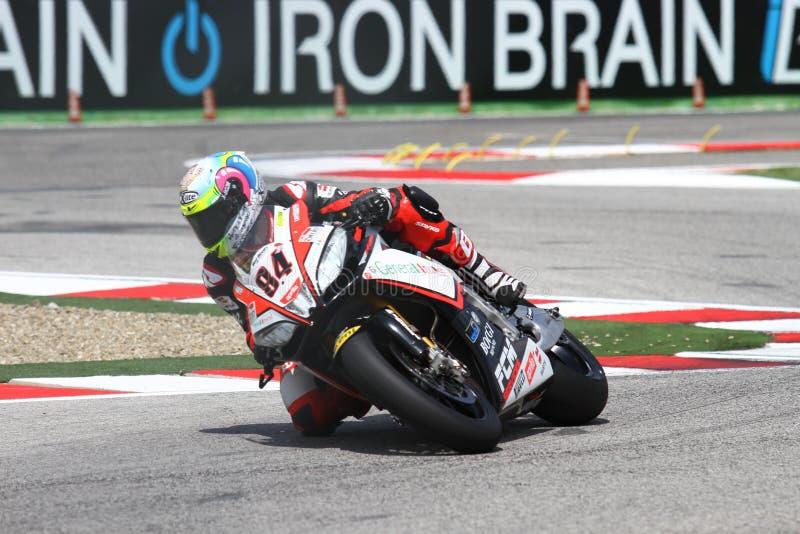 Мишель Fabrizio #84 на Superbike 1000 Roma красных дьяволов фабрики Aprilia RSV4 WSBK стоковое фото
