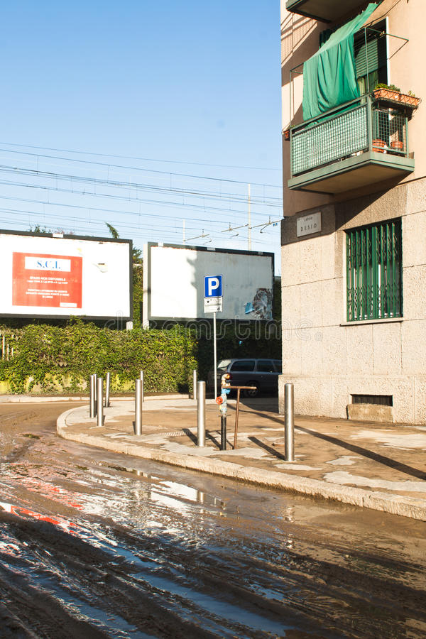 Милан flooding стоковое изображение rf