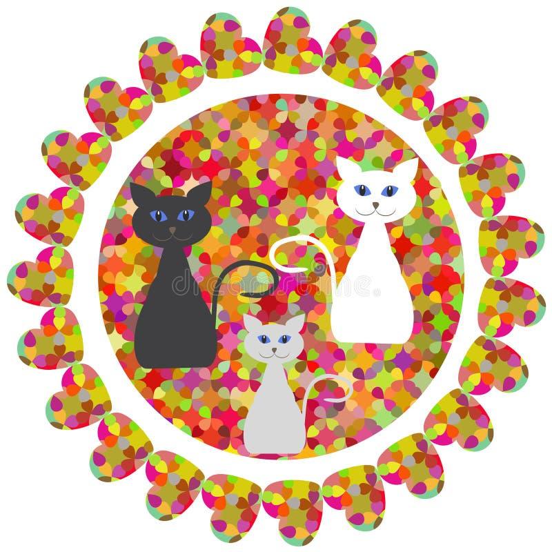 Милая абстрактная геометрическая круглая печать с котами фантазии для desi иллюстрация вектора
