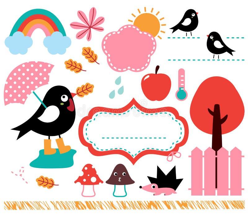 Милая ласточка и осень бесплатная иллюстрация