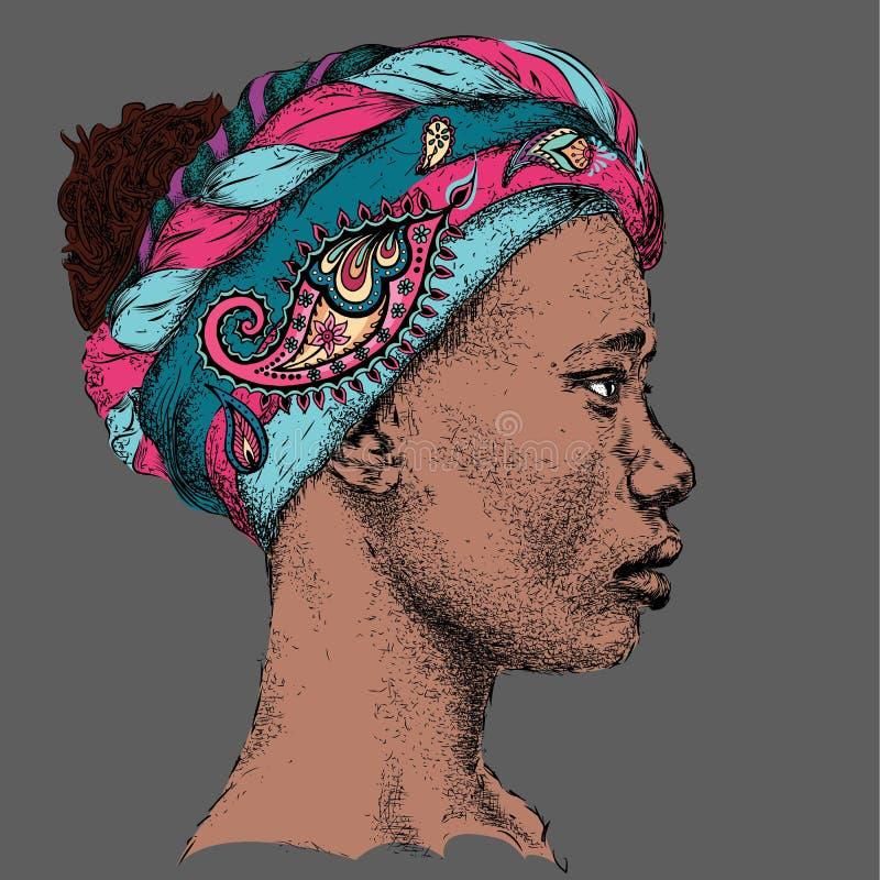 Милая Афро-американская девушка в тюрбане с Пейсли красивейшая чернокожая женщина Взгляд профиля Весьма шатер спорта иллюстрация штока