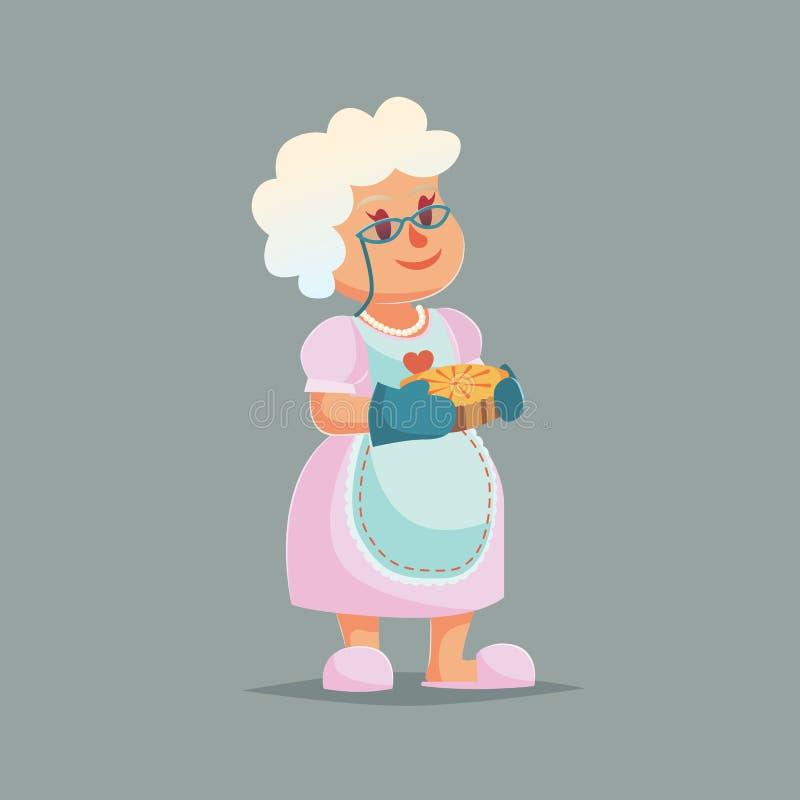 Милая бабушка в стеклах держа пирог шарж чужеземцев связывает космос знака кино языка иллюстрации директора смешной бесплатная иллюстрация