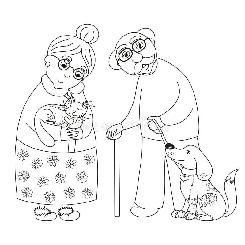 Открытки раскраски ко дню пожилого человека