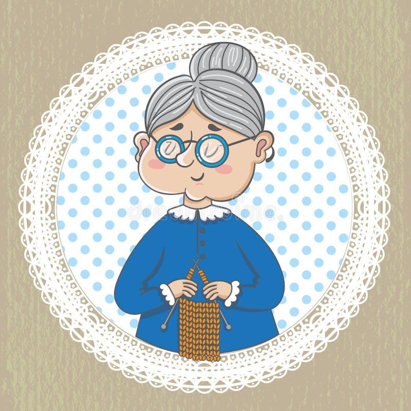 Милая бабушка с с вязать иллюстрация штока