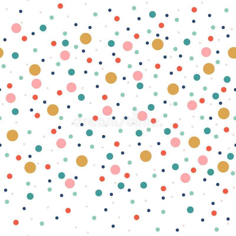 Милая безшовная картина или текстура с красочными точками польки на белой предпосылке Использованный для предпосылки детей, блог, иллюстрация вектора