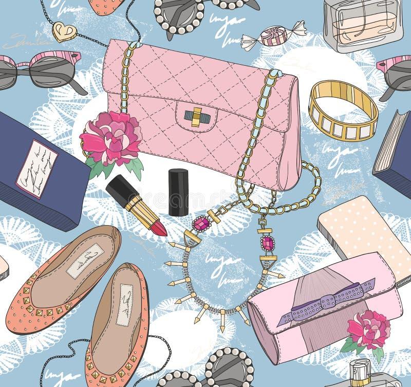 Милая безшовная картина моды для девушки или женщины бесплатная иллюстрация