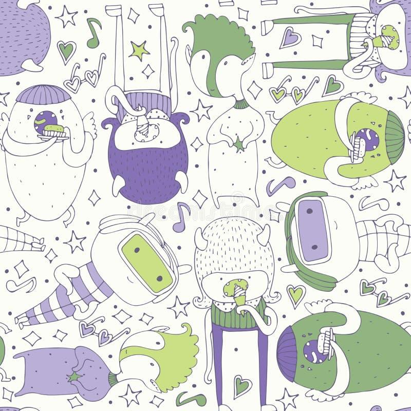 Милая безшовная картина при симпатичные изверги doodle есть, оставаясь и смотря зрителя Фиолетовые и зеленые твари на светлом ба иллюстрация штока