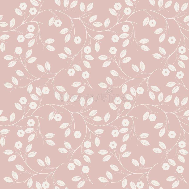 Милая безшовная картина при цветки и листья изолированные на розовом b иллюстрация штока