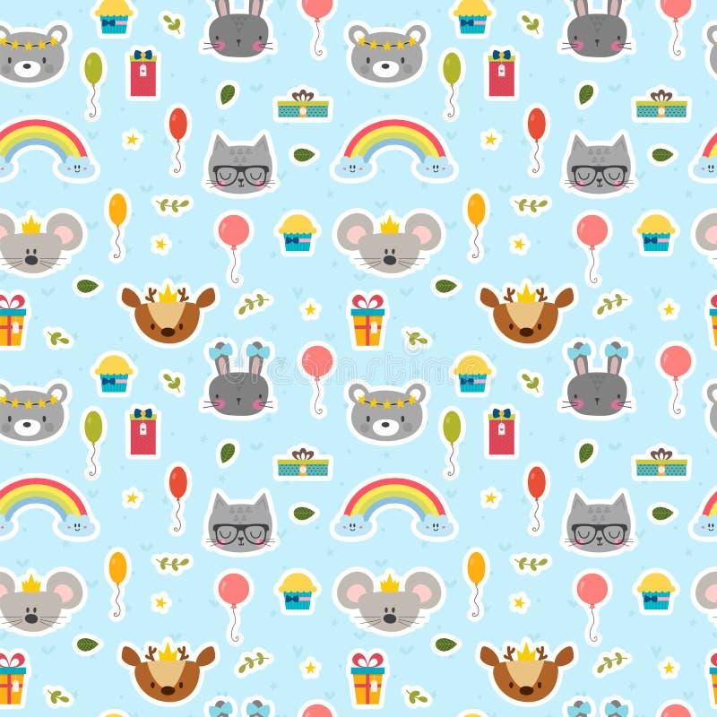 Милая безшовная картина с животными шаржа с днем рождения тема Сладостная предпосылка для детей иллюстрация штока