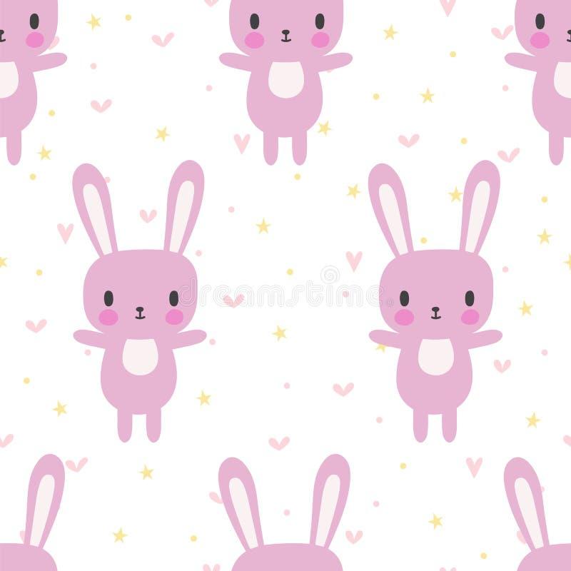Милая безшовная картина с зайчиком шаржа Животные младенца шаржа Смешная предпосылка для маленьких девочек и мальчиков иллюстрация штока