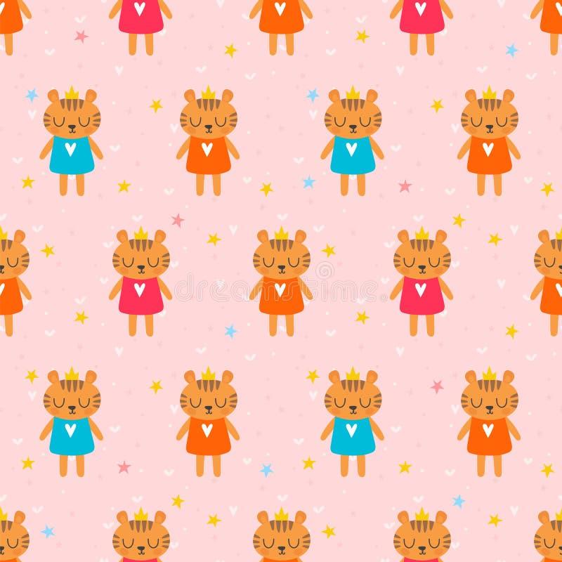 Милая безшовная картина с маленькими тиграми Предпосылка детей животные смешные иллюстрация штока