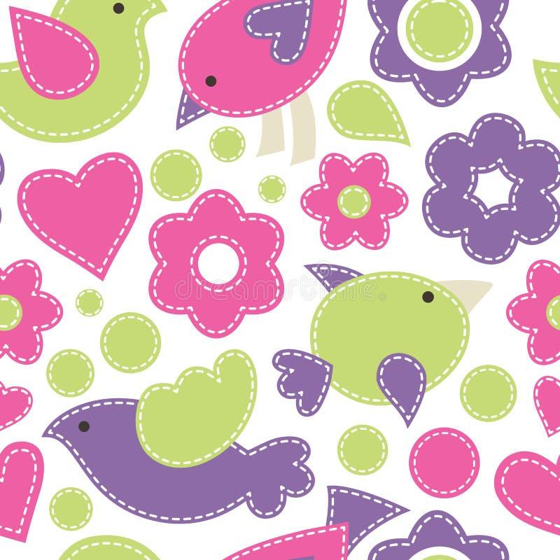 Милая безшовная картина с птицами Ребяческое illustra вектора стиля иллюстрация штока