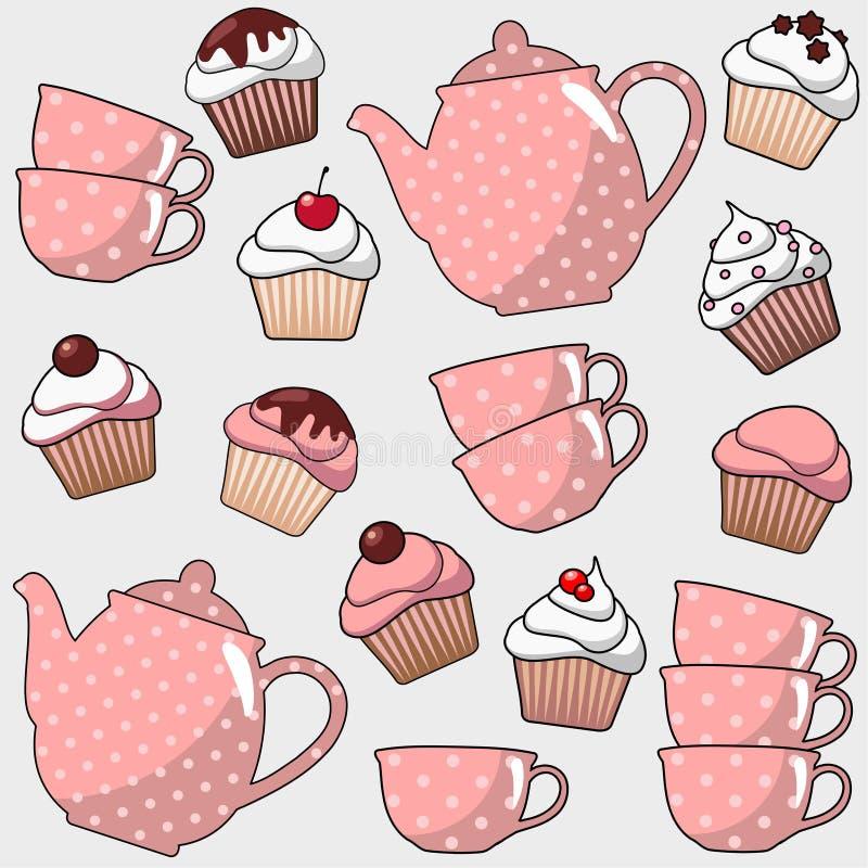 Милая безшовная картина с различными пирожными, булочками, чаем, баком кофе, чашками, предпосылкой иллюстрации иллюстрация штока