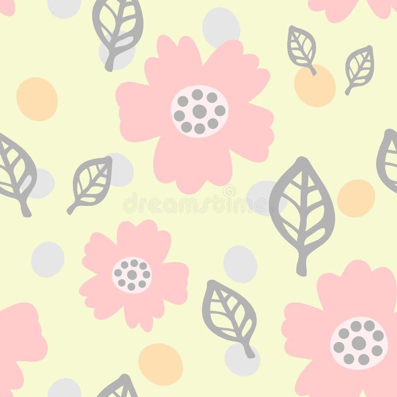 Милая безшовная картина с цветками, листьями и круглыми пятнами Нарисовано вручную Пастельный эскиз бесплатная иллюстрация