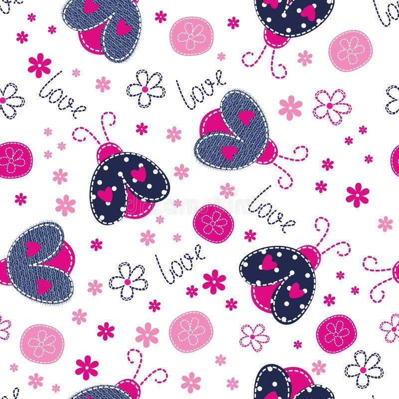 Милая безшовная картина с ladybugs иллюстрация вектора