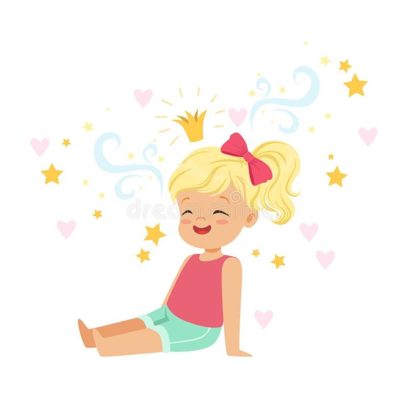 Милая белокурая маленькая девочка сидя и мечтая о принцессе, воображении детей и фантазии, красочном векторе характера иллюстрация штока