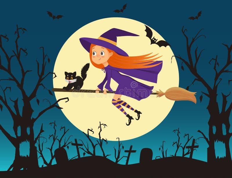 Милая ведьма маленькой девочки с летанием котенка на венике бесплатная иллюстрация